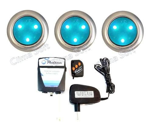 Kit Iluminação Piscina 3 Refletores Super Led 3 Mini Inox + Comando e Controle Remoto