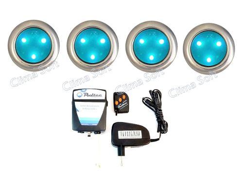 Kit Iluminação Piscina 4 Refletores Super Led 3 Inox Mini + Comando e Controle Remoto