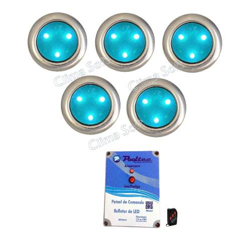 Kit Iluminação Piscina 5 Refletores Super Led 3 Mini Inox + Comando e Controle Remoto