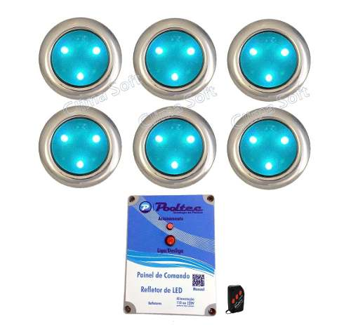 Kit Iluminação Piscina 6 Refletores Super Led 3 Inox Mini + Comando e Controle Remoto