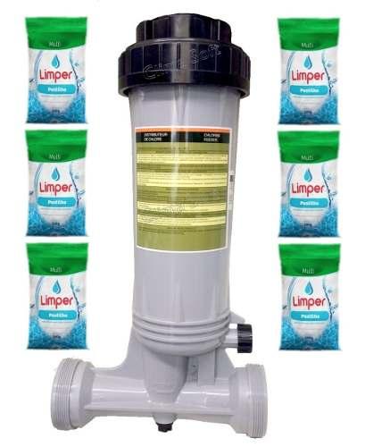 Dosador De Cloro Automatico Piscinas Fluidra + 6 Pastilhas Limper
