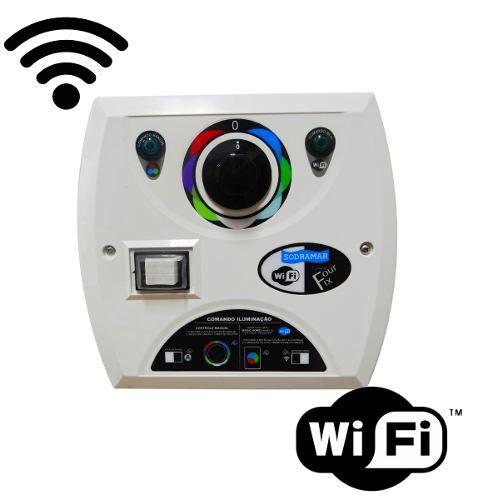Kit 1 Led Piscina 9w Rgb + Comando Four Fix Wifi Sodramar