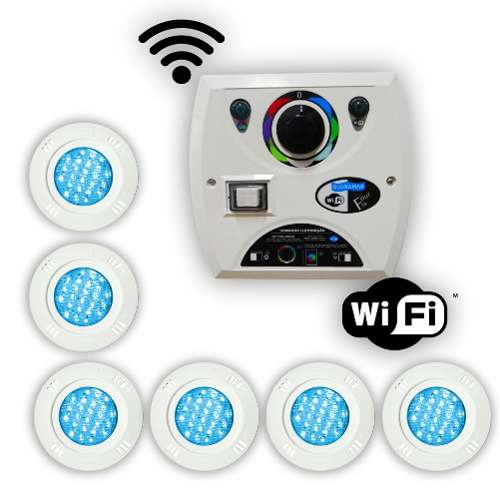 Kit 6 Led Piscina 9w Rgb + Comando Four Fix Wifi Sodramar