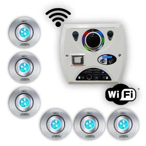 Kit 6 Hiper Led 9w Inox + Comando Four Fix Wifi Sodramar