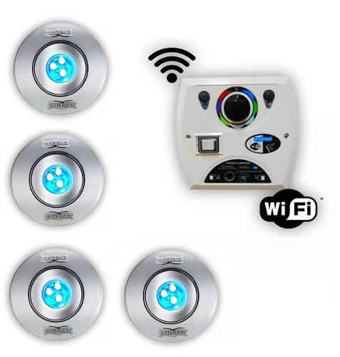 Kit 4 Hiper Led 9w Inox + Comando Four Fix Wifi Sodramar