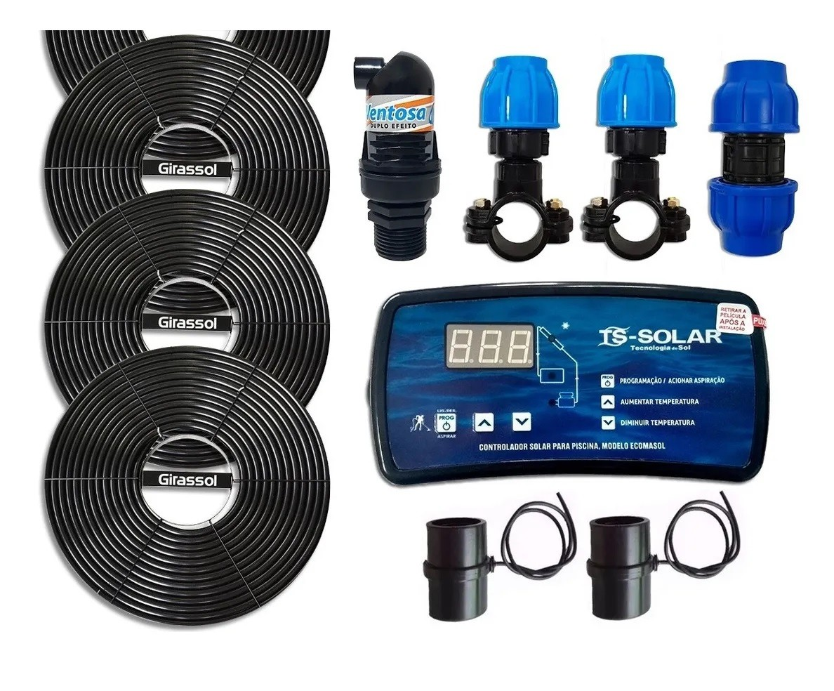 Aquecedor Solar Para Piscinas 6 Placas G1 Girassol + Controlador de Temperatura  PEDIDO 68848