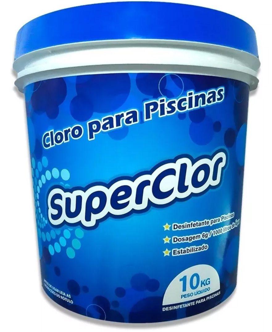 Balde De Cloro Granulado Superclor 10 Kg Para Limpeza De Piscina