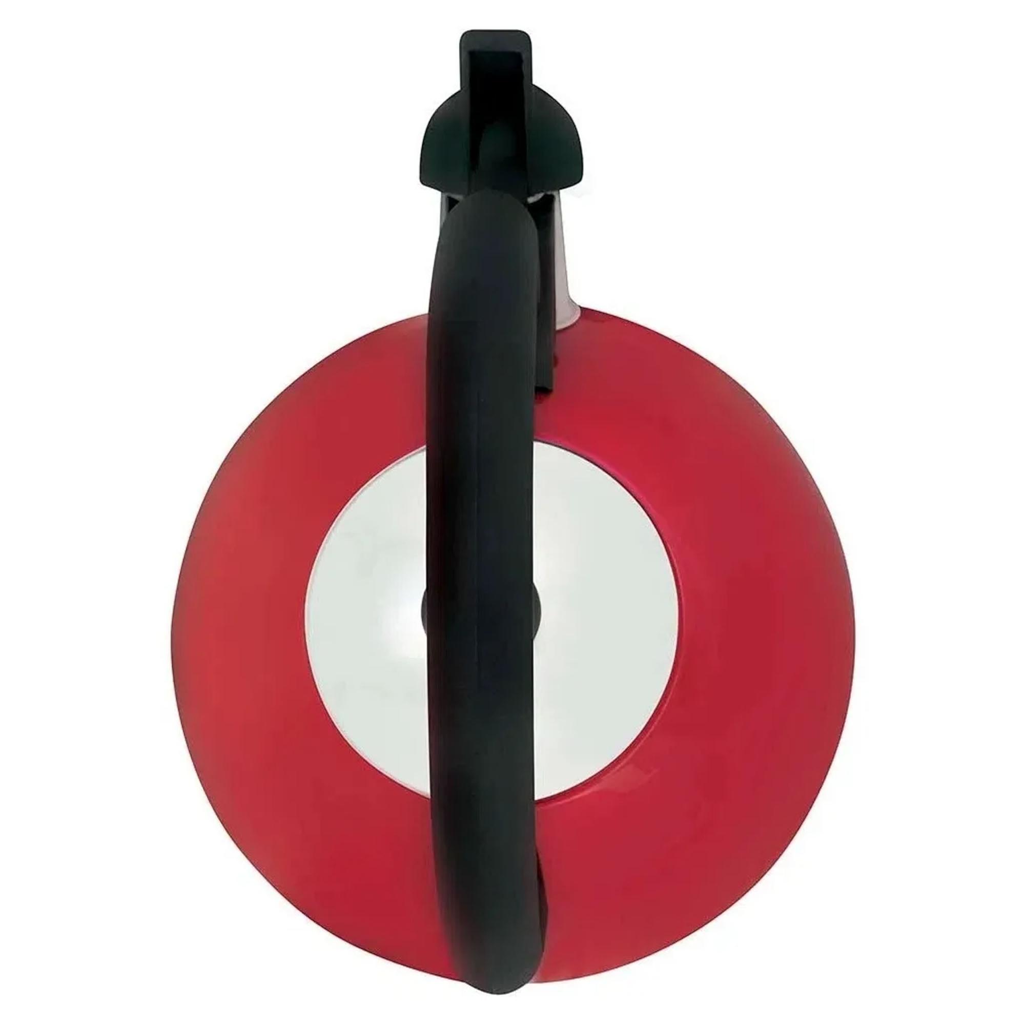 Chaleira Com Apito Aço Inox 2,5 L Vermelha Mattina Mor