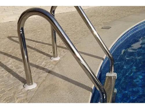 Escada Para Piscina 2 Degraus De Aço Inox Removível Completa