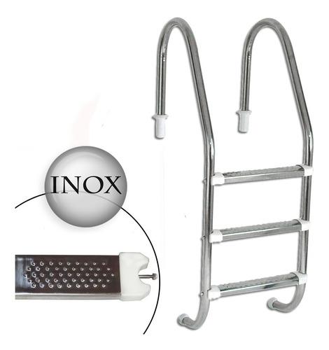 Escada Para Piscina 3 Degraus De Aço Inox Removível Completa