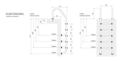 Escada Para Piscina Em Aço Inox Com 5 Degraus Inox Removivel
