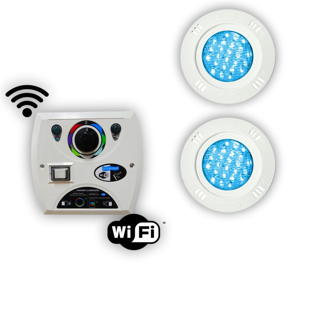 Kit 2 Led Piscina 9w Rgb + Comando Four Fix Wifi Sodramar
