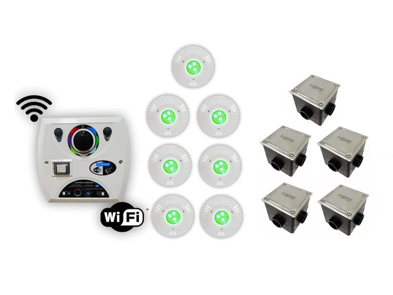 Kit 7 Hiper Led 9w Abs + Comando Four Fix Wifi Sodramar
