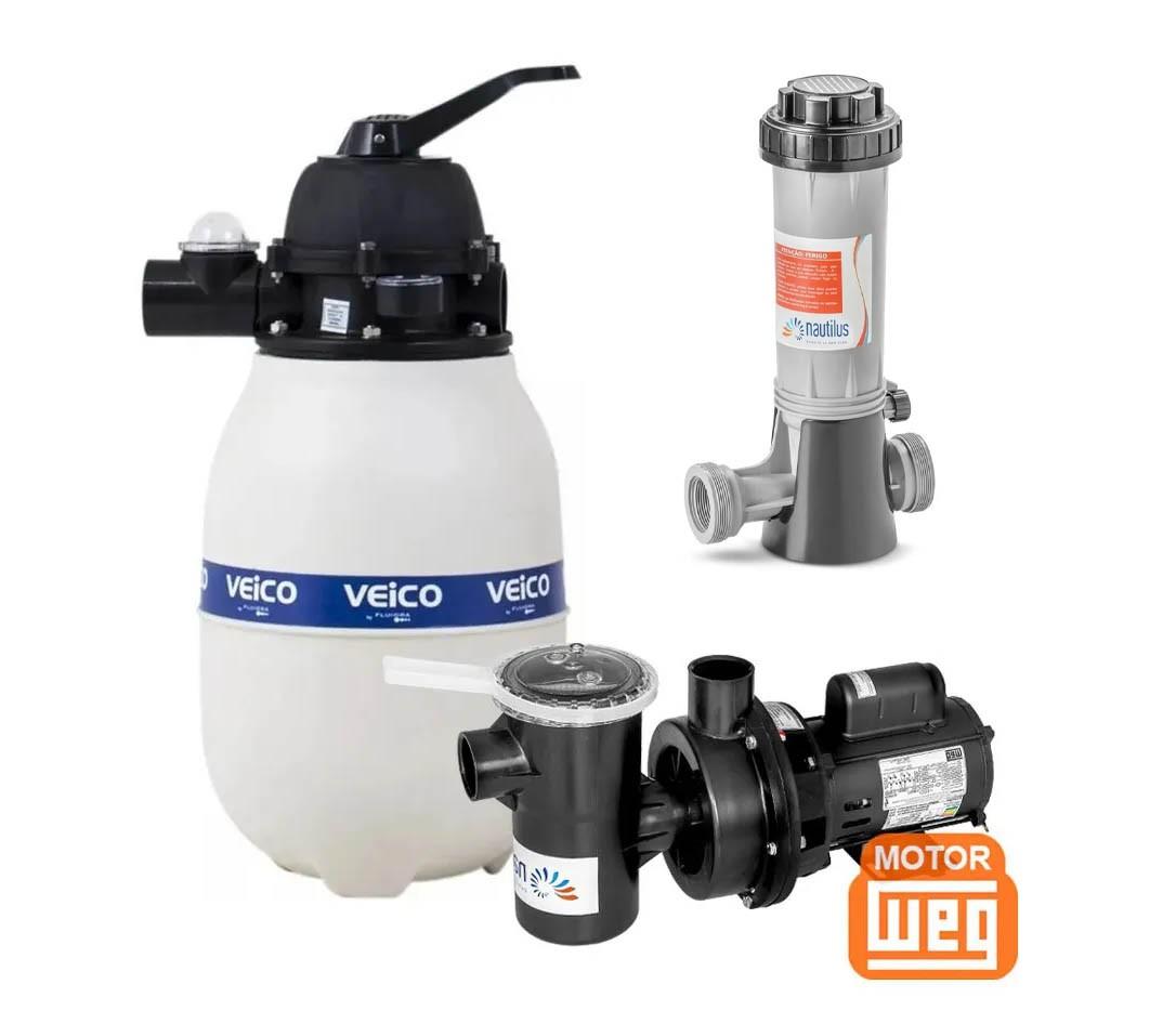 Kit Filtro e Bomba Para Piscina V20 + Bomba 1/4cv Veico Até 19 Mil Litros + Dosador de Cloro
