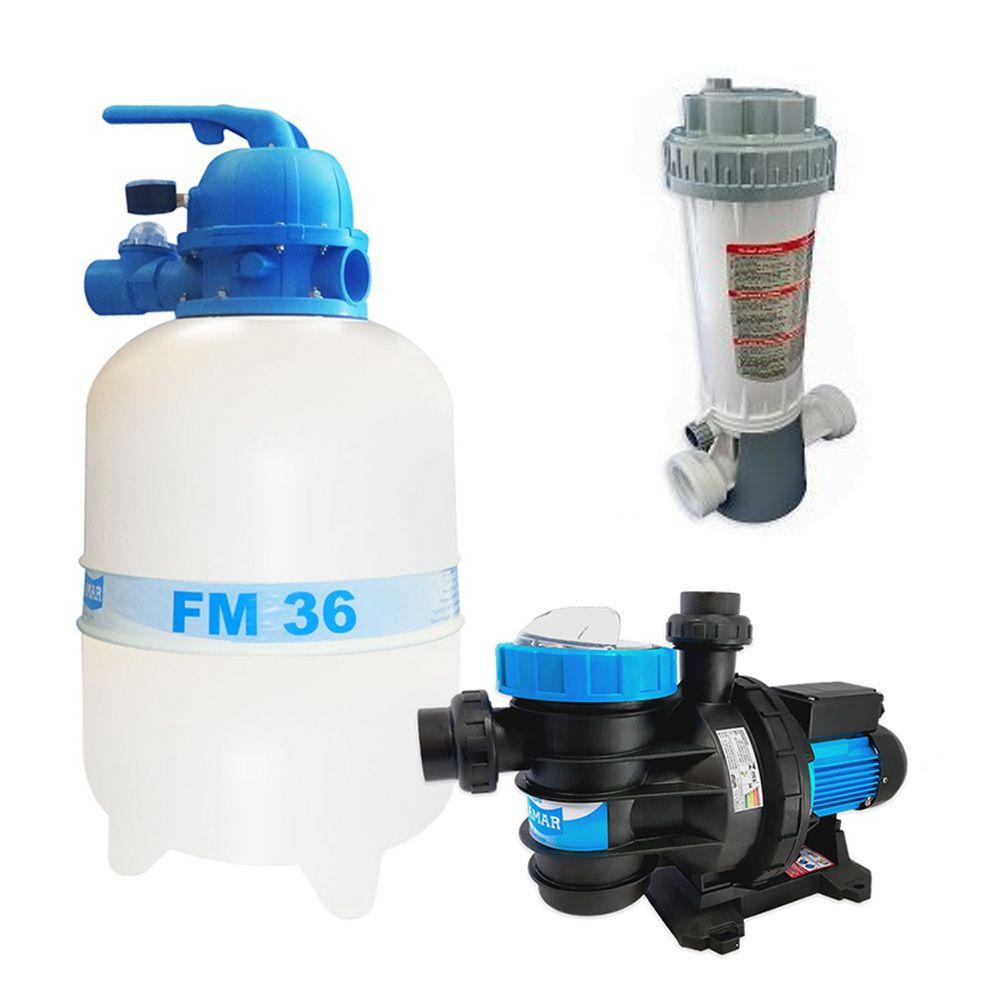 Kit Filtro Para Piscina FM 36 + Bomba BMC 1/3cv Sodramar E Dosador De Cloro