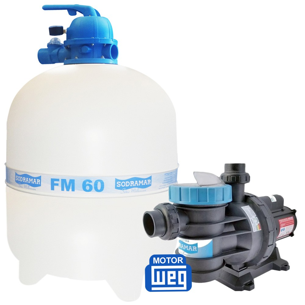 Kit Filtro Para Piscina Fm 60 + Bomba Bm 100 1,0 Cv Sodramar Até 113 M³