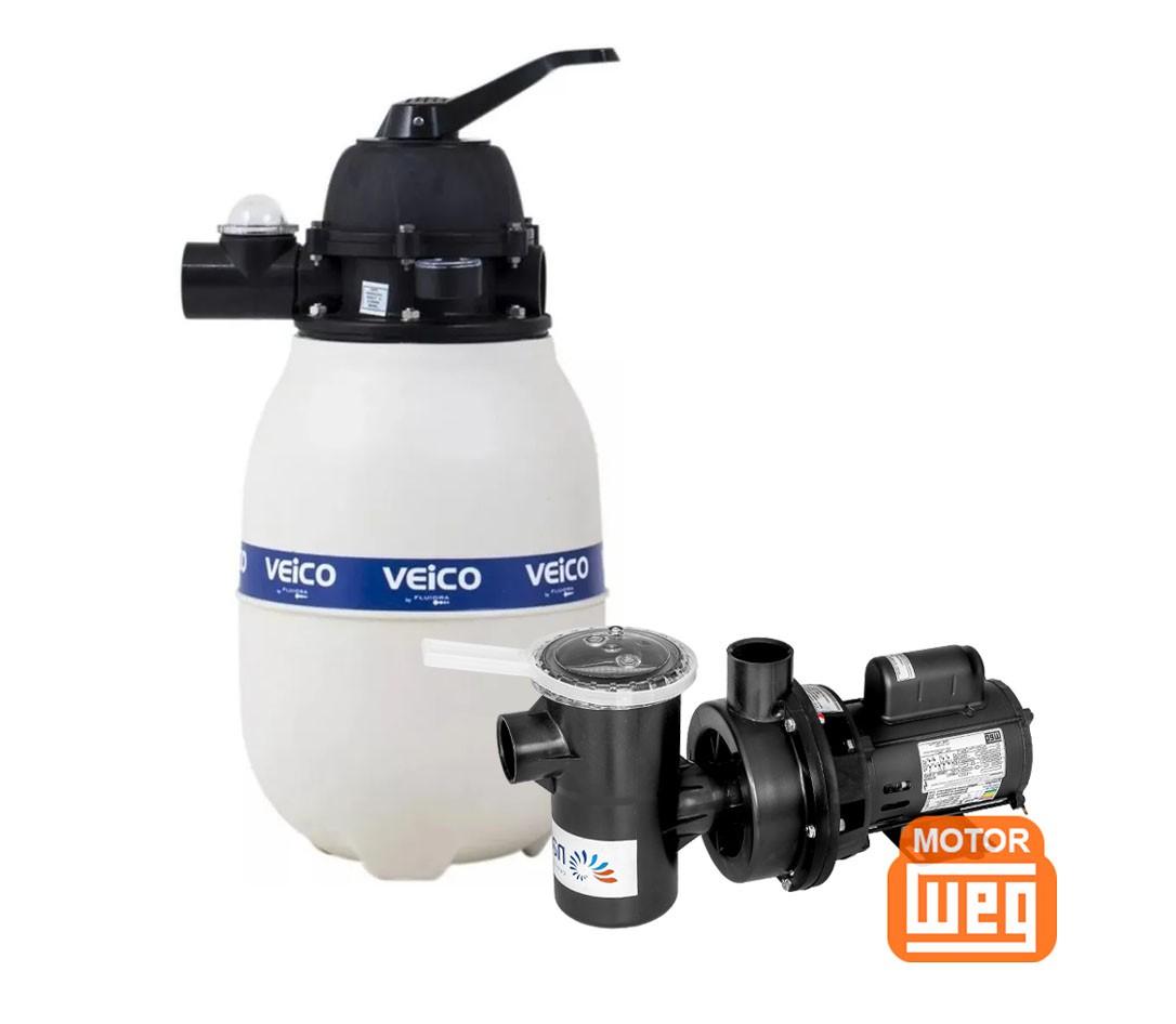 Kit Filtro Para Piscina V-20 + Bomba 1/4 Cv Veico