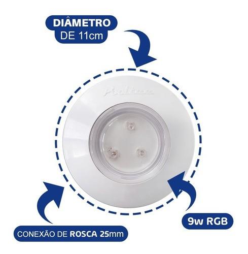 Kit Iluminação Luminária Para Piscina 3 Refletor 9w ABS Controle Comando Touch