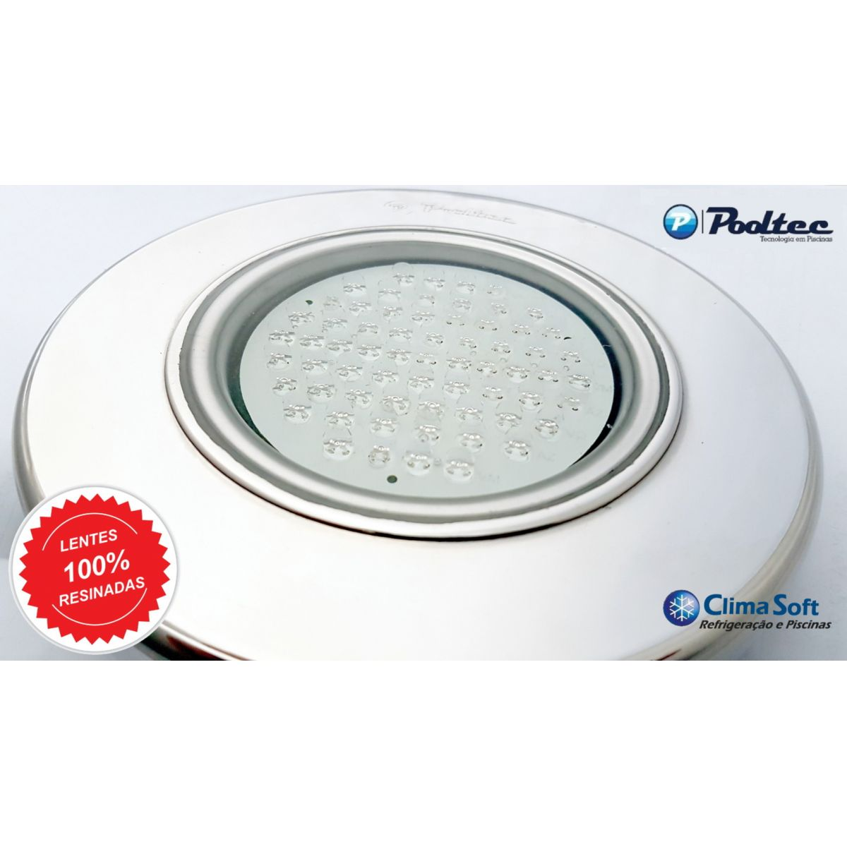 Kit Iluminação para Piscina 1 Led 65 Inox RGB Colorido + Comando e Controle Remoto - Até 9 m²