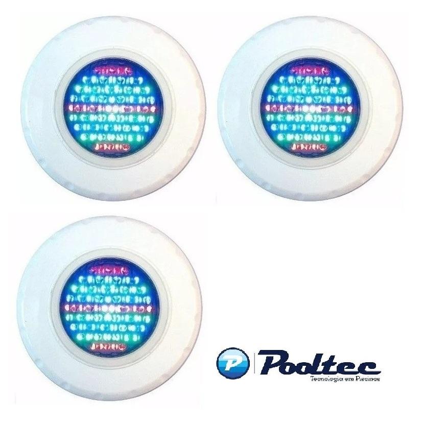 Kit 3 Refletor Para Piscina Led 65 ABS RGB Colorido - Até 27 m²
