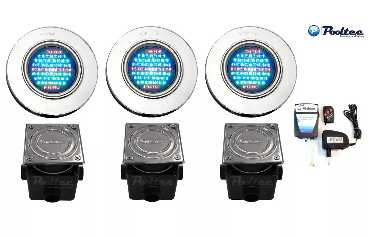 Kit Iluminação para Piscina 3 Led 65 Inox RGB Colorido + Comando e Controle Remoto + Caixa de Passagem - Até 27 m²