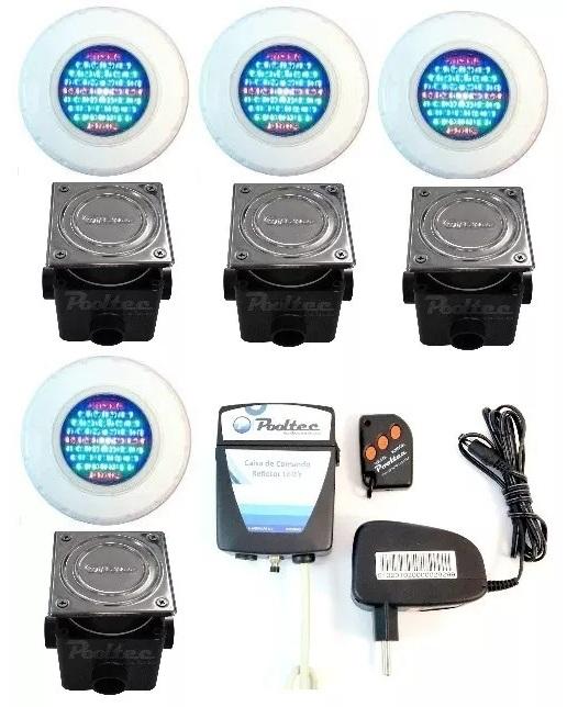 Kit Iluminação para Piscina 4 Led 65 ABS RGB Colorido + Comando e Controle Remoto + Caixa de Passagem - Até 36 m²