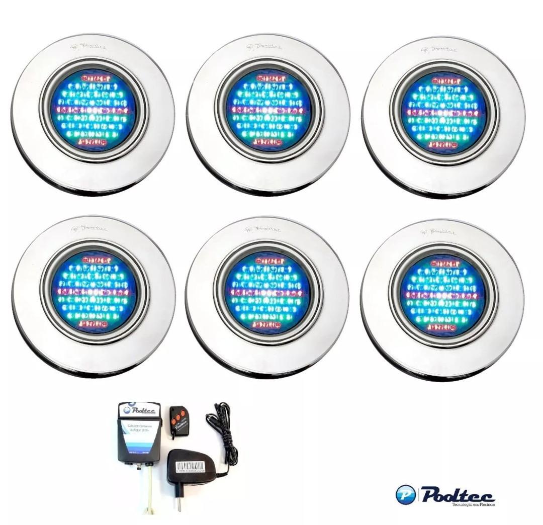 Kit Iluminação para Piscina 6 Led 65 Inox RGB Colorido + Comando e Controle Remoto - Até 54 m²
