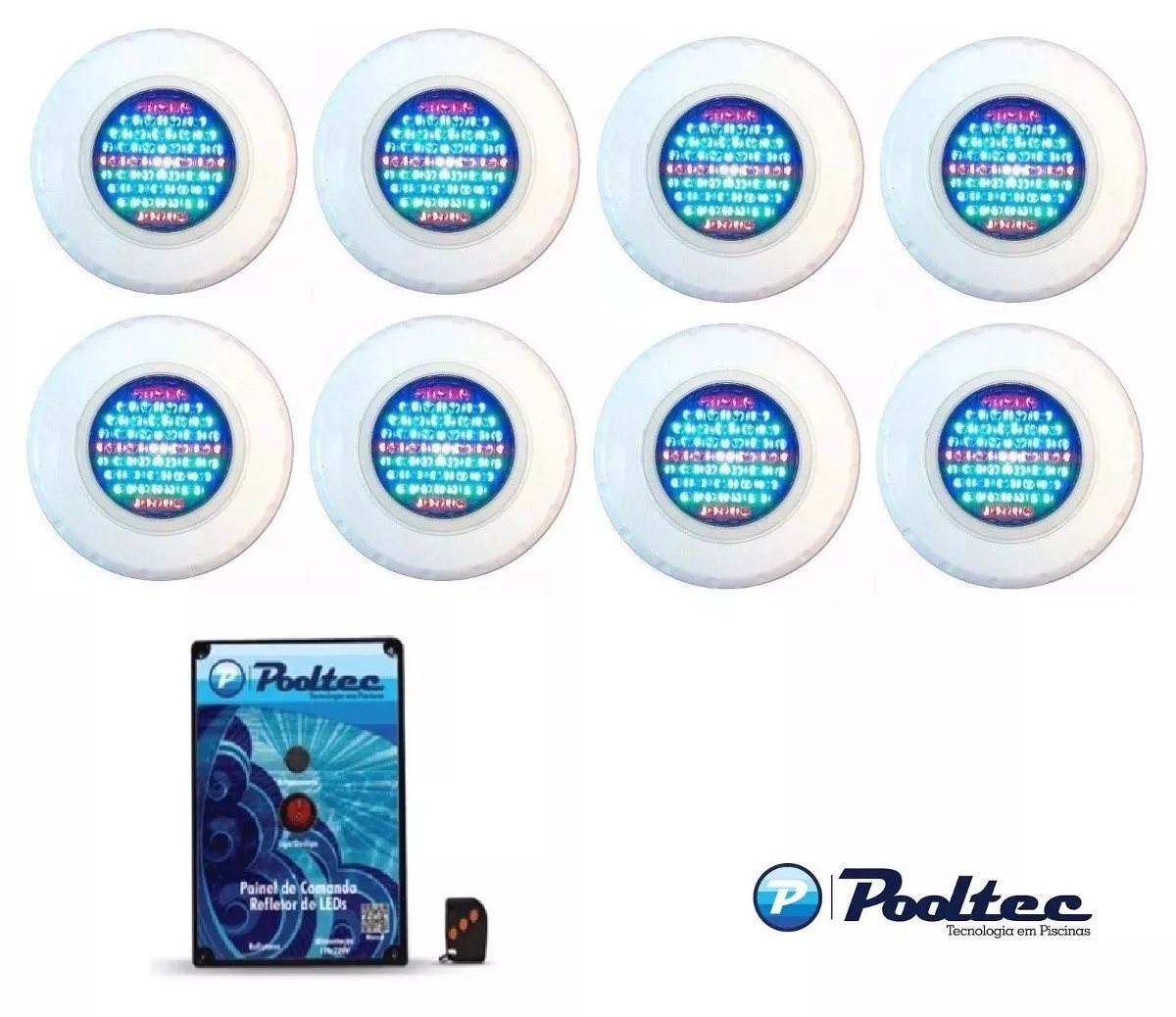 Kit Refletor para  Piscina 8 Led 65 Colorido + Comando Pooltec + Adaptador com Garra - Até 72 m²