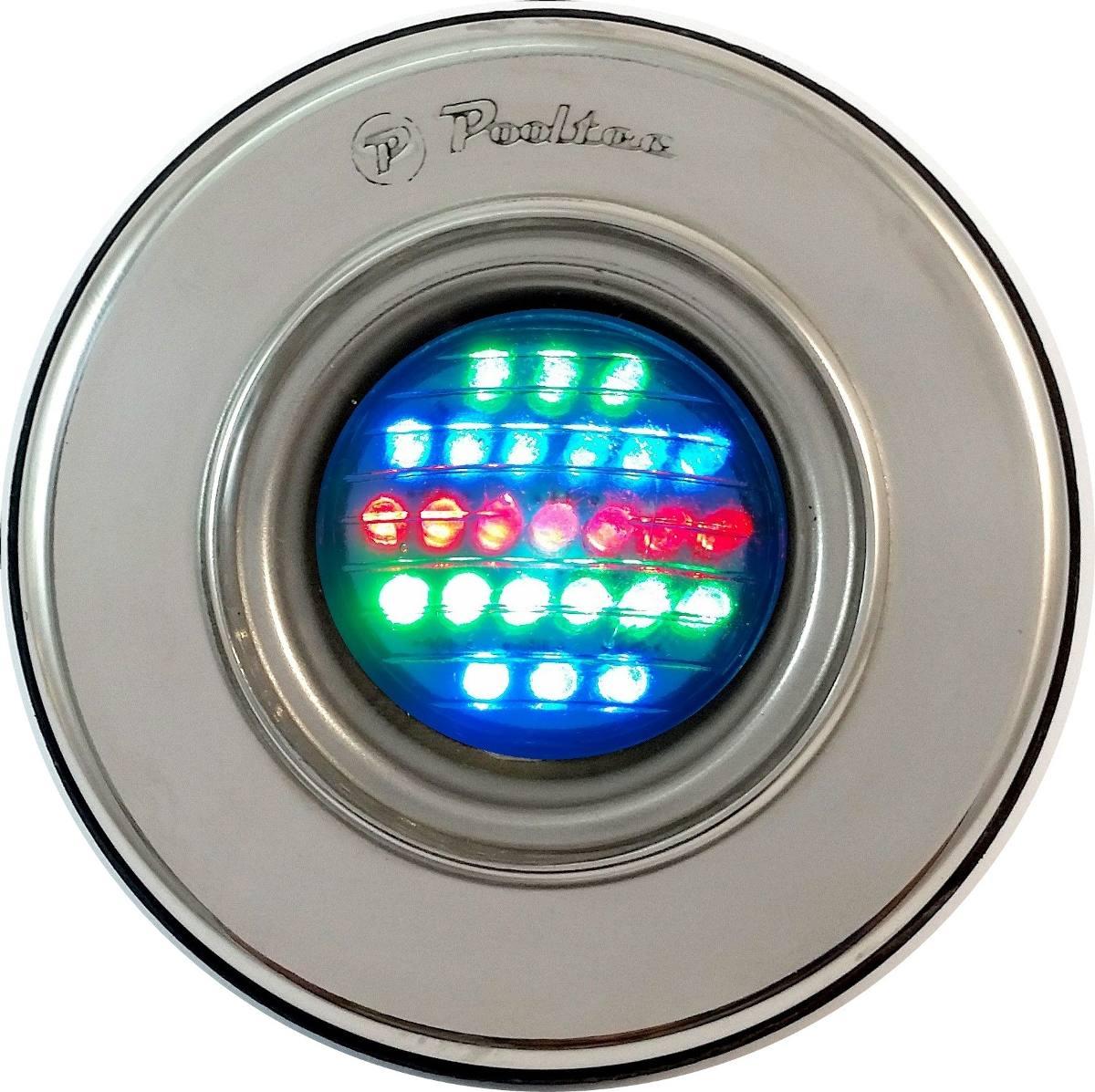 Refletor De Led Para Piscina 25 Leds Colorido Em Inox