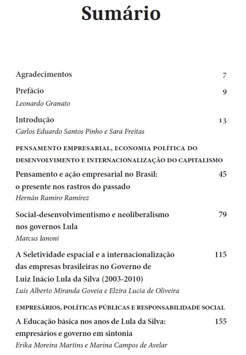 Empresariado e poder político no Brasil, organizadores Sara Freitas e Carlos Eduardo Santos Pinho
