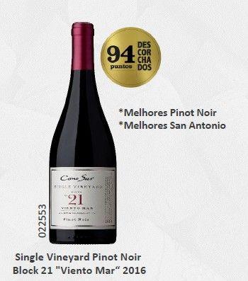 """Vinho Chileno Cono Sur Single Vineyard Pinot Noir Block 21 """"Viento Mar""""2016(750ml)"""