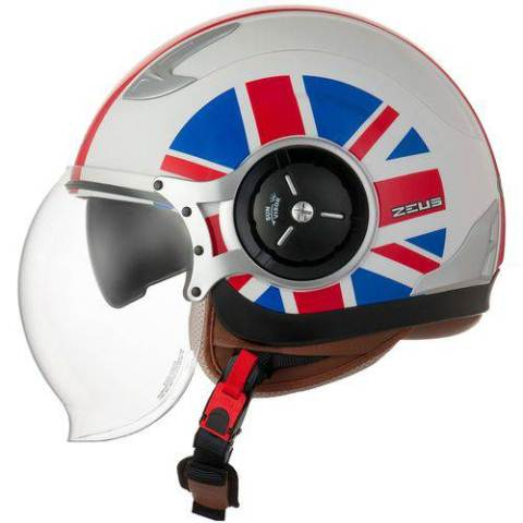 CAPACETE ZEUS 218DA UK FLAG WHITE/RED