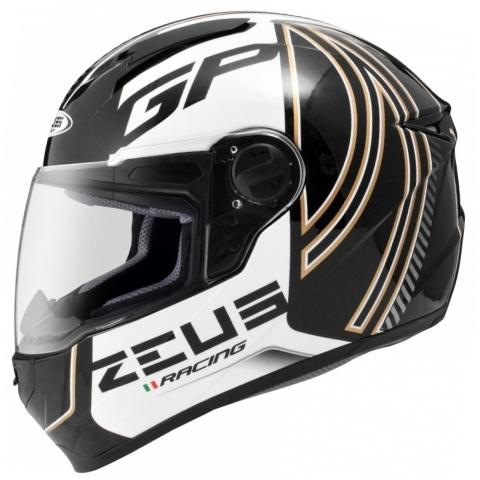 Capacete Zeus 811 Evo GP Racing AL2 Preto/Branco