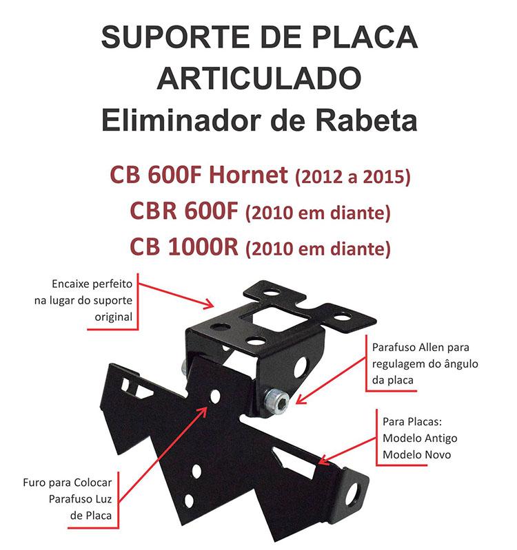 Suporte de Placa Ecoferro Hornet/CB1000R/CBR600F
