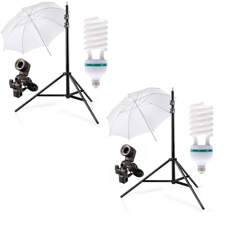 2 Kit Iluminação Estúdio Luz Continua Foto/vídeo com lampada 90W