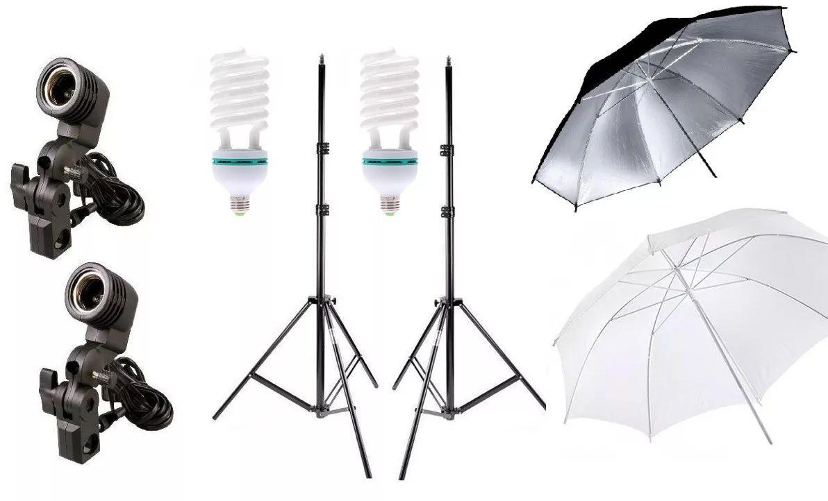 2 Kit Iluminação Estúdio Luz Continua Foto/vídeo com lampada 90W Profissional