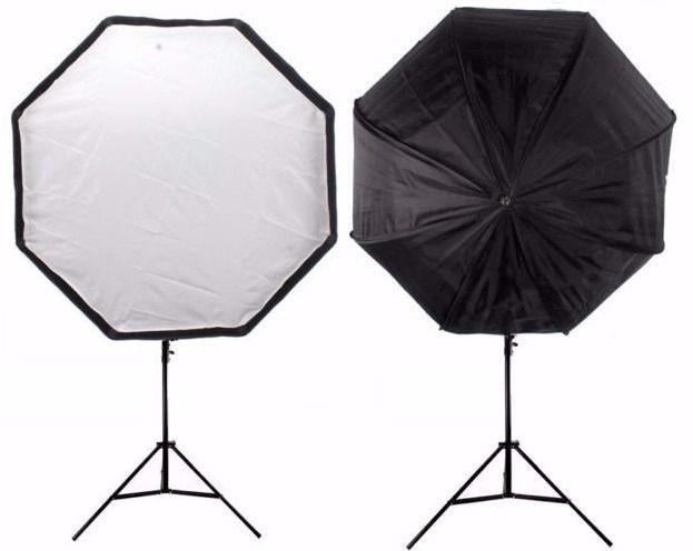 2 Kit Soft Octagonal 120cm + Tripé + Soquete Único C/ Lâmpada 270W