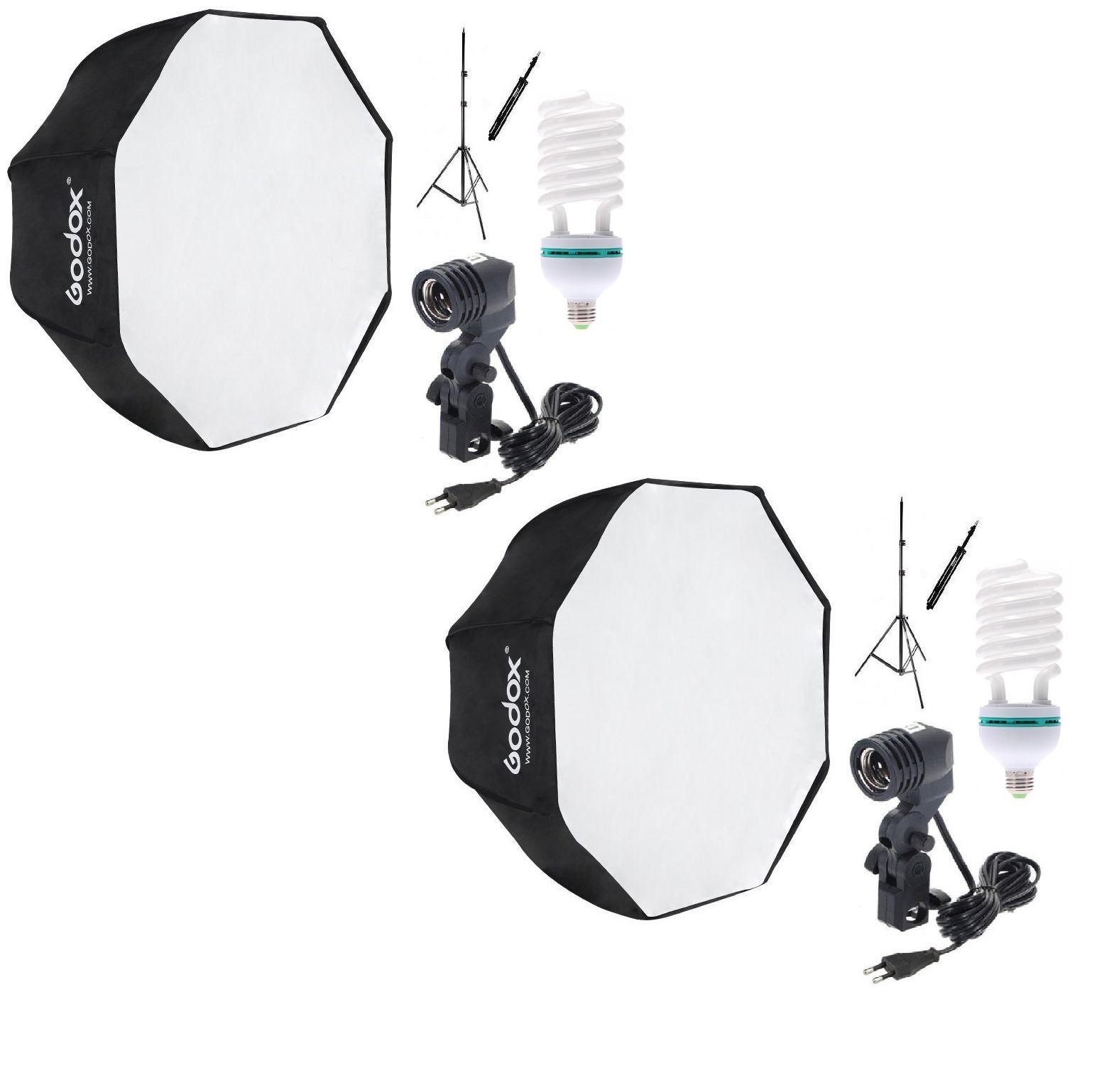 2 Kit Soft Octagonal 80cm + Tripé + Soquete Único C/ Lâmpada 270W