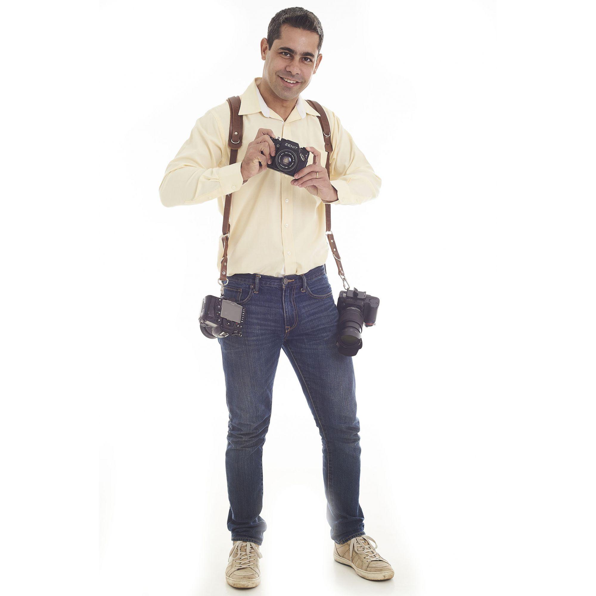 Alça Dupla Slim 20 Em Couro Legitimo Cameras Dslr Double Strap