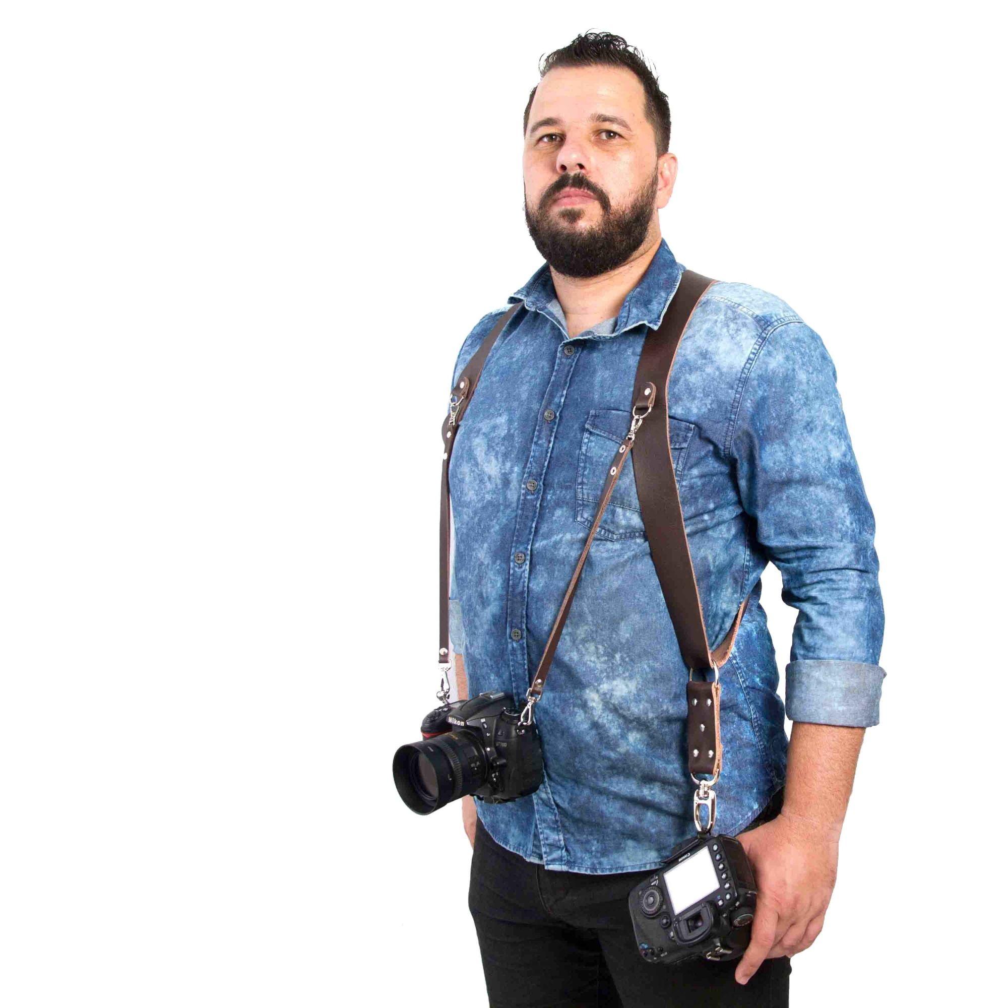 Alça Dupla Split Em Couro Legitimo Cameras Dslr Double Strap