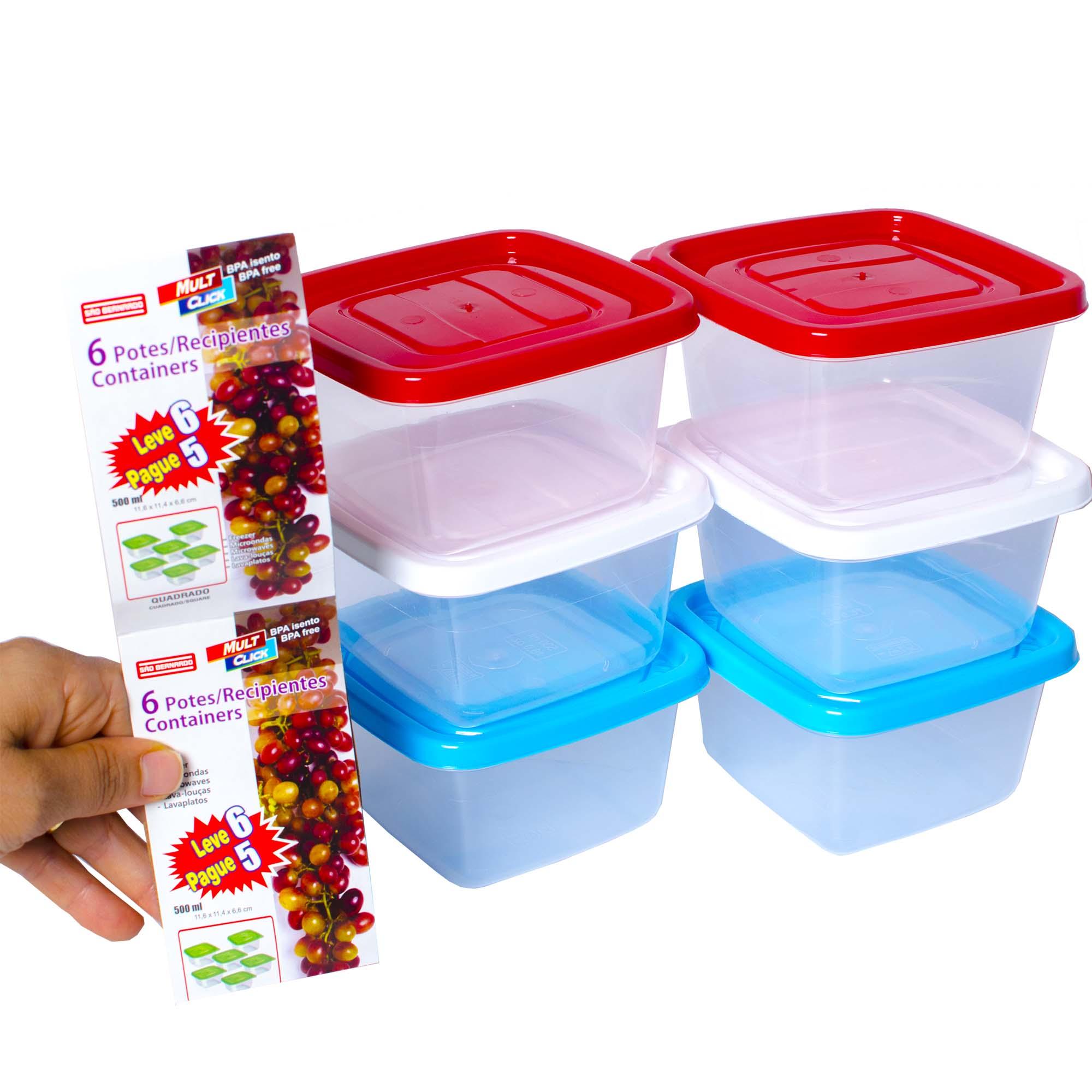 Conjunto 6 Potes Quadrado 500ml para Freezer e Microondas PO-16/6