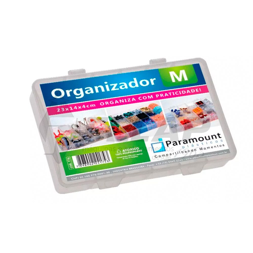 kit 6 Box Caixa Organizador Paramount 14 Divisorias M 174