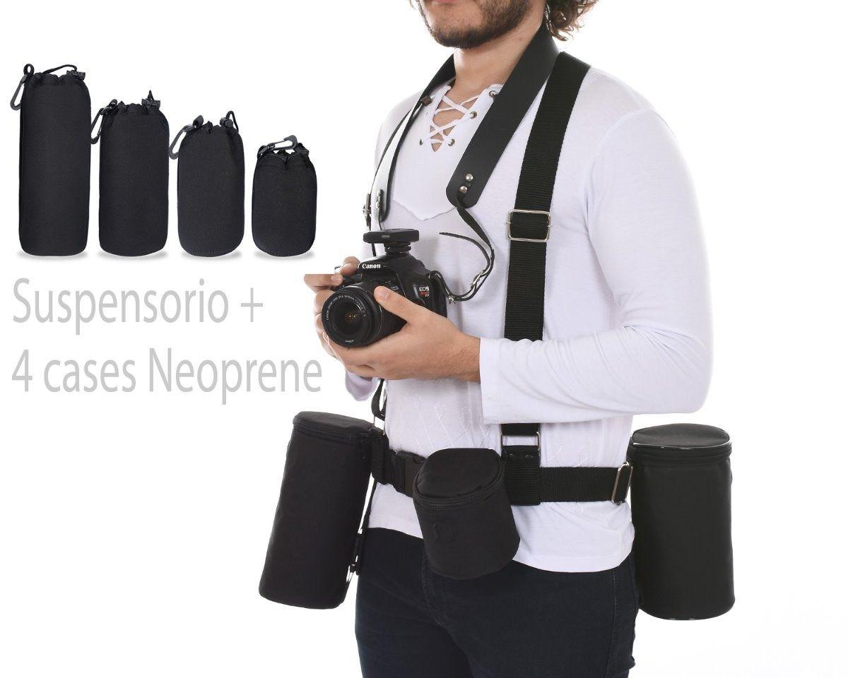 Kit 4 Bolsa Case Neoprene e suspensorio Luva Lente Canon Nikon Youngnou