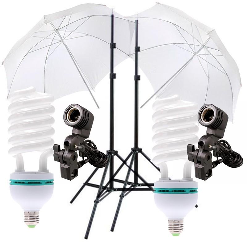 kit Iluminação 90w com tripe sombrinha soquete simples e lampada