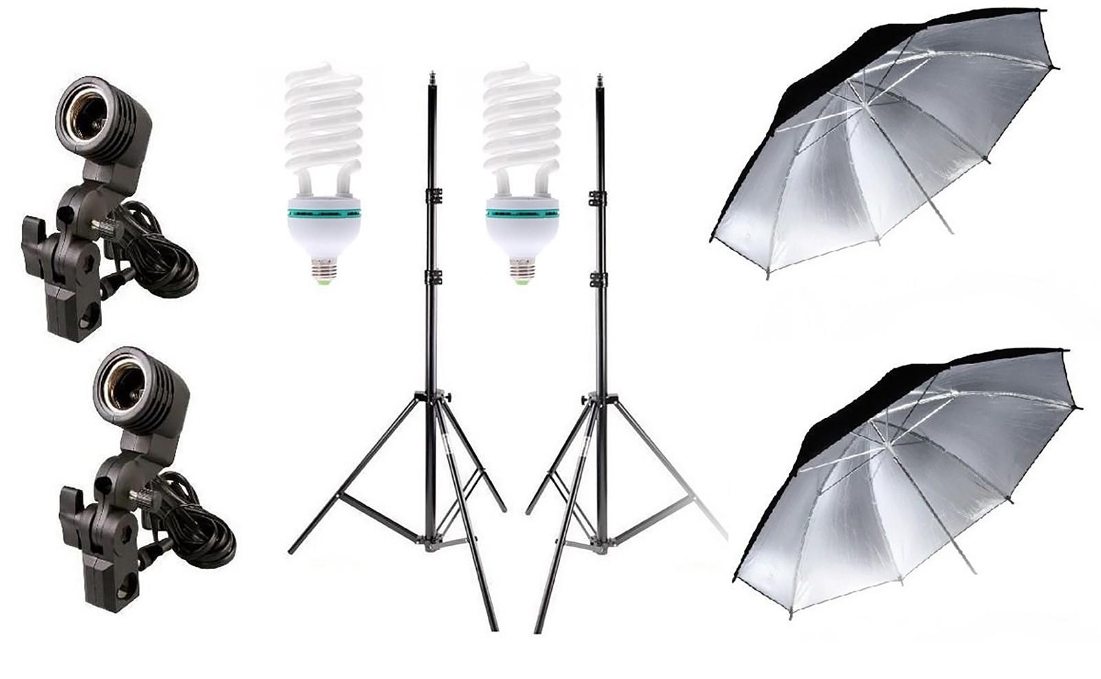 Estúdio duplo Iluminação continua sombrinha soquete 170W 220V