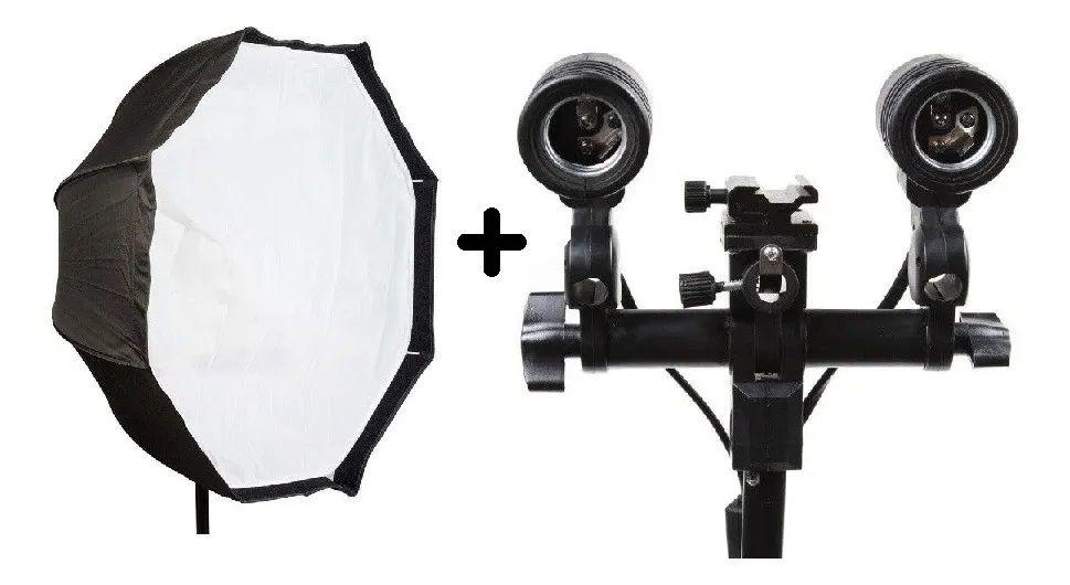 Estúdios Fotográfico Softbox Sombrinha 80cm Octabox duplo Iluminação
