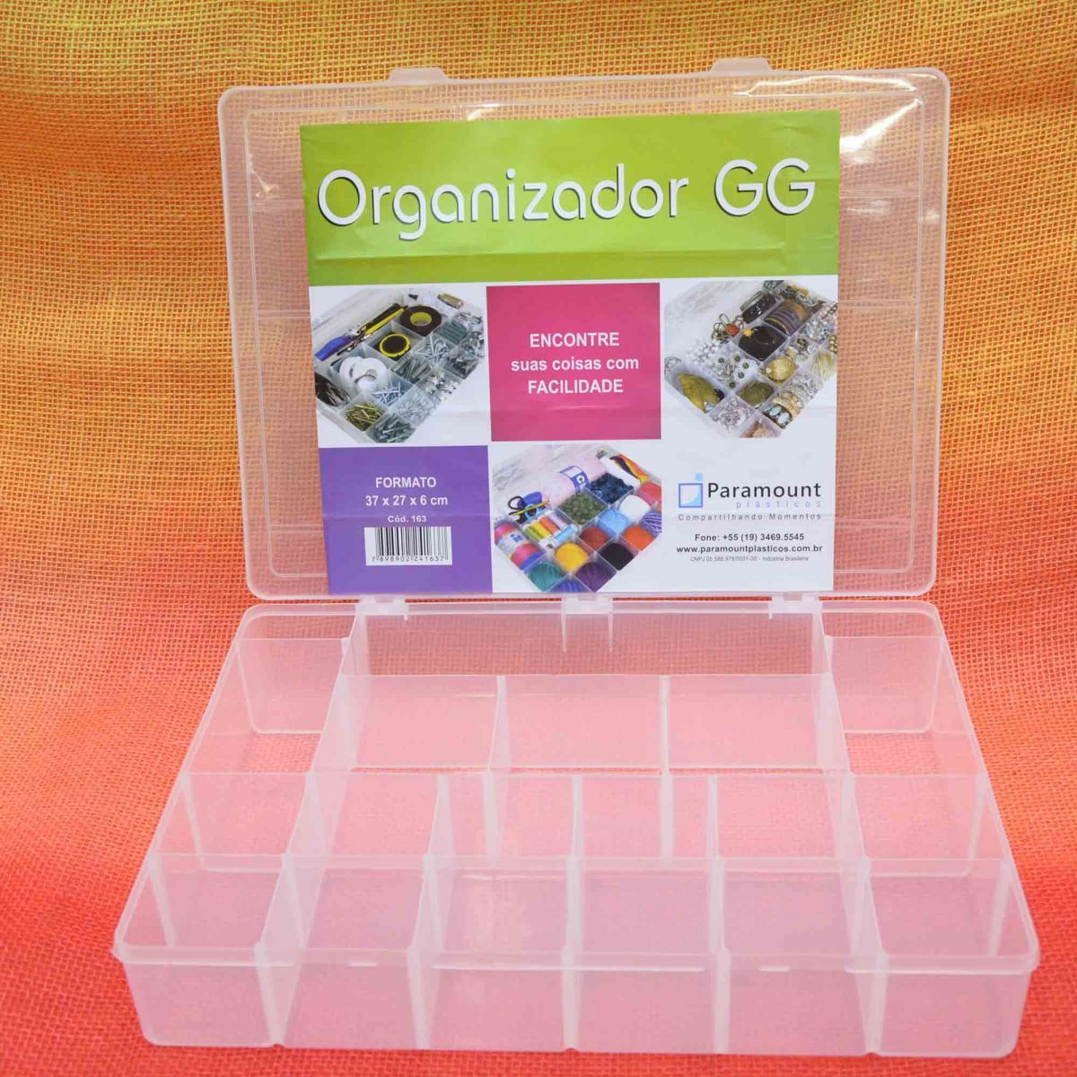 kit 5 Box Caixa Organizador Paramount 20 Divisorias GG 163