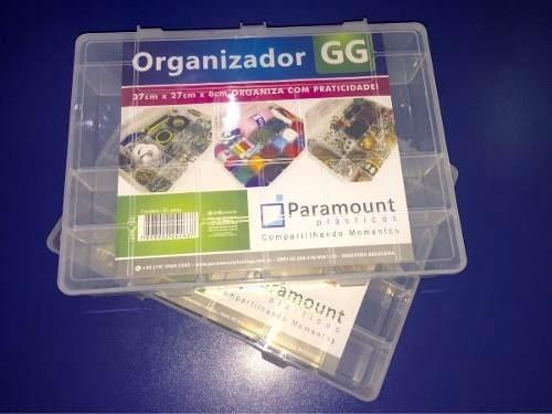 Kit 5 Caixa Organizadora Plástica Com Tampa 20 Divisões Gg