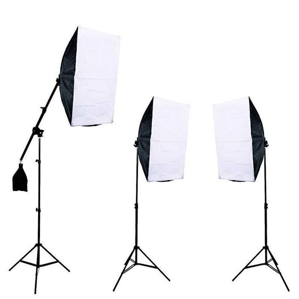 Kit de Iluminação Greika PK-SB04 com Softboxes, Braço Girafa e Tripés de Iluminação 2m para Estúdio Fotográfico
