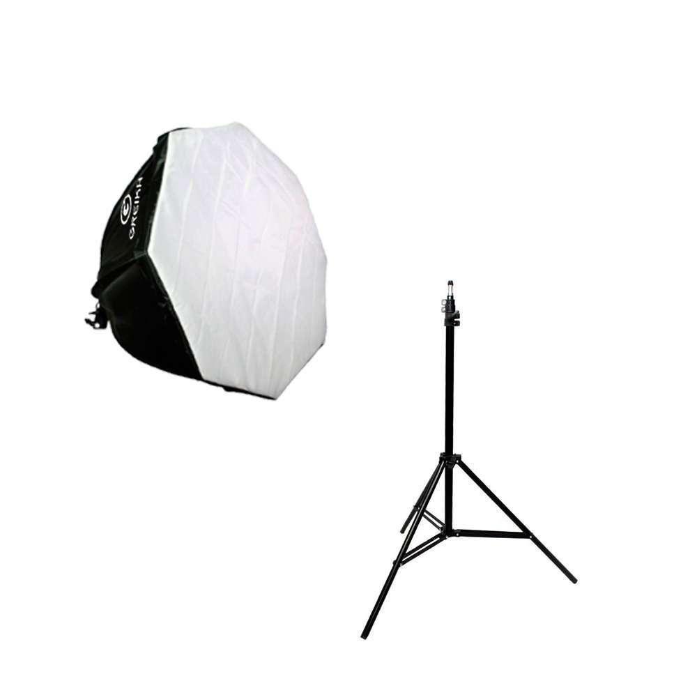 Kit de Iluminação Softbox Octagonal 60cm Greika com Soquete Embutido e Tripé de 2m para Estúdios de Fotografia